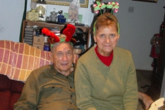 Don and Gay wearing Antlers